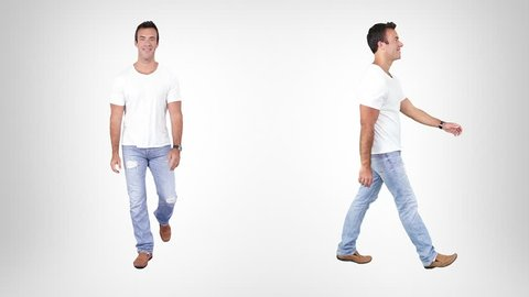 Casual young man walking over white background with alpha matte. Lateral and frontal view. More options in my portfolio.