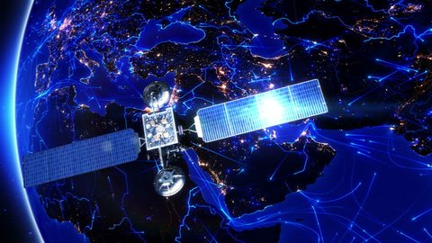 Satellite sending signals to Earth. Middle East. Animation of the Earth with bright connections and city lights. Aerial, maritime, ground routes and country borders. 2 shots in 1 file. Blue.