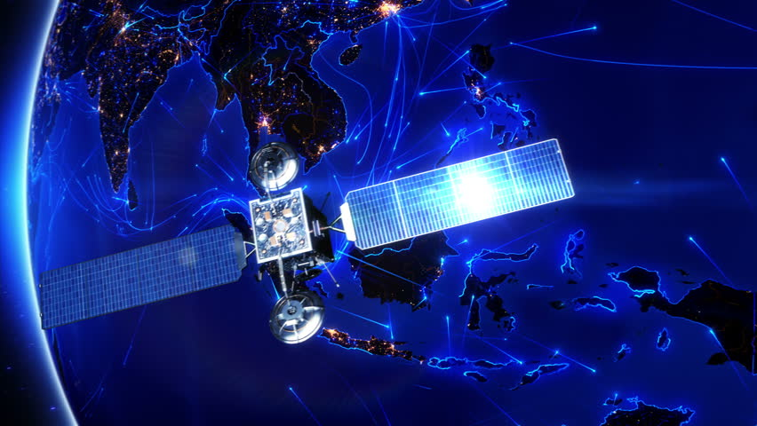 Satellite sending signals to Earth. Southeast Asia. Animation of the Earth with bright connections and city lights. Aerial, maritime, ground routes and country borders. 2 shots in 1 file. Blue.
