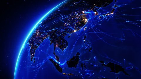 Earth bright connections and city lights. Asia. Aerial, maritime, ground routes and country borders. Blue. Images courtesy of http://www.nasa.gov. More options in my portfolio.