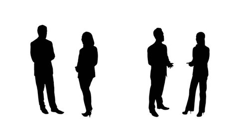 Business silhouettes. 4 in 1. Couples. People talking. More options in my portfolio.
