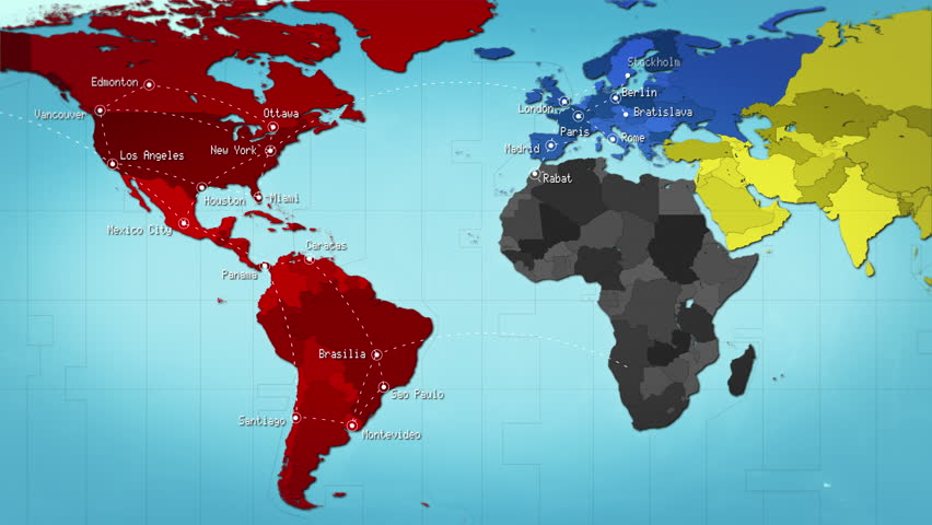 3d animation of world map formed by names of major cities in the world map with connections and cities different color for each continent loopable multicolored gumiabroncs Gallery
