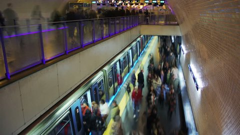Subway station. Subway train arriving. Time lapse. Visible faces were blurred. More options in my portfolio.