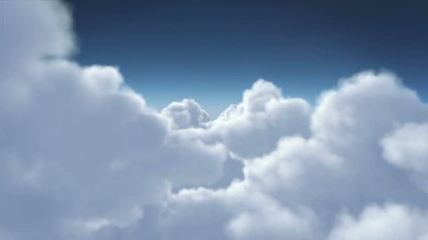 Flying through cumulus clouds without sun and lens flares. Cloudy sky, clean view. Loopable. More options in my portfolio.