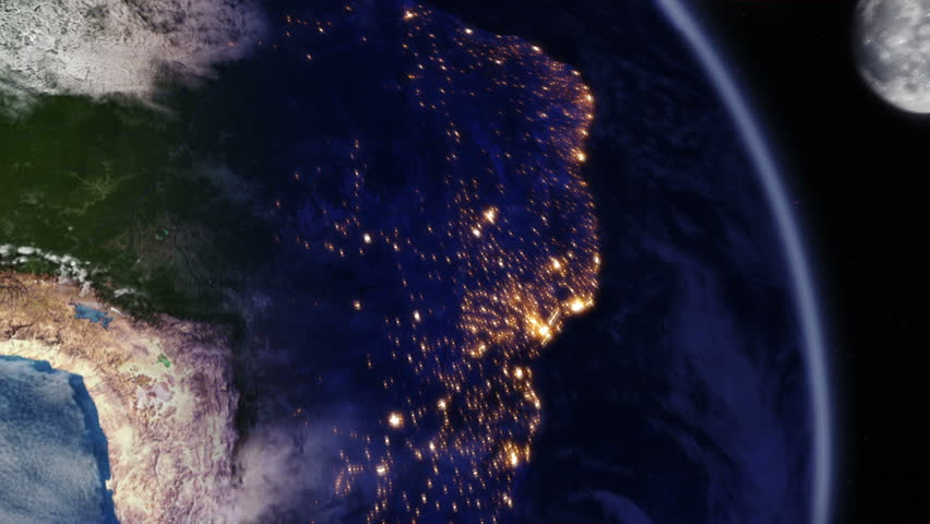 Sunrise over South America. Earth seen from space. Beautiful view of South America during sunrise. Earth map based on images courtesy of: NASA http://www.nasa.gov.