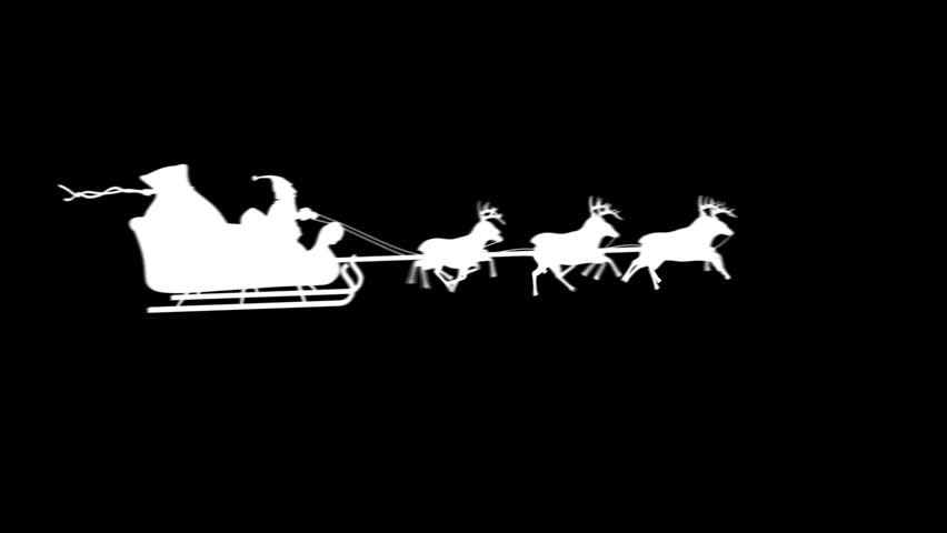 christmas santa reindeer in black over white background