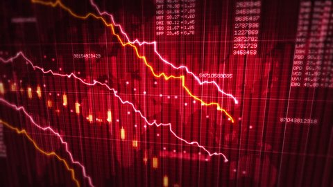 Declining financial chart. Red and White. 2 videos in 1 file. Economy background. More options in my portfolio.