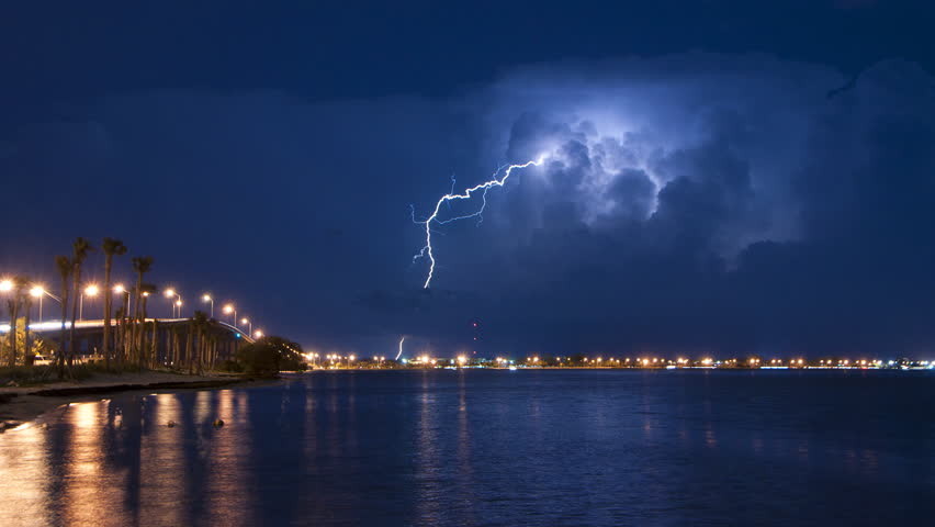 Time lapse of a lightning storm over Miami