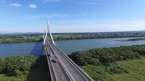 Sky taken with drone Taking: blue sky and the river and the bridge and roadway 3 / September 17, 2015 in Japan of the shooting in Hokkaido / Landscape autumn blue sky were transferred empty background