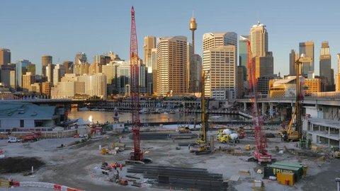 Darling Quarter construction site, Darling Harbour, Sydney in 4k