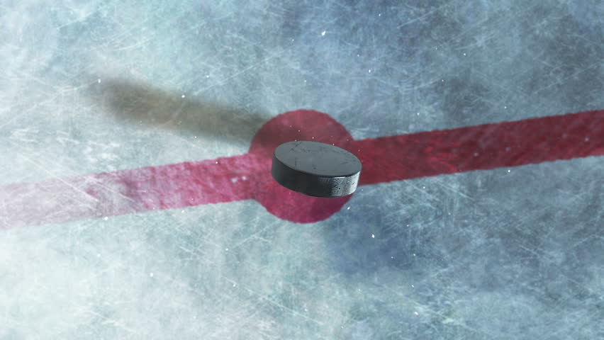 Hockey Puck Drop. animated puck drops from above and hits ice. 3 clips. 1st clip is puck drop on ice. 2nd clip is puck drop on black. 3rd clip is luma matte of puck to isolate it from the background. | Shutterstock Video #11834468