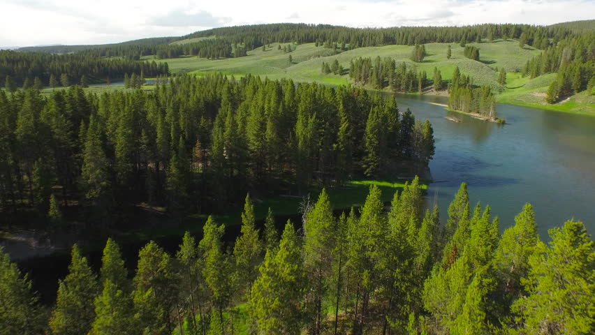 Aerial video of Yellow Stone National Park. Wyoming.