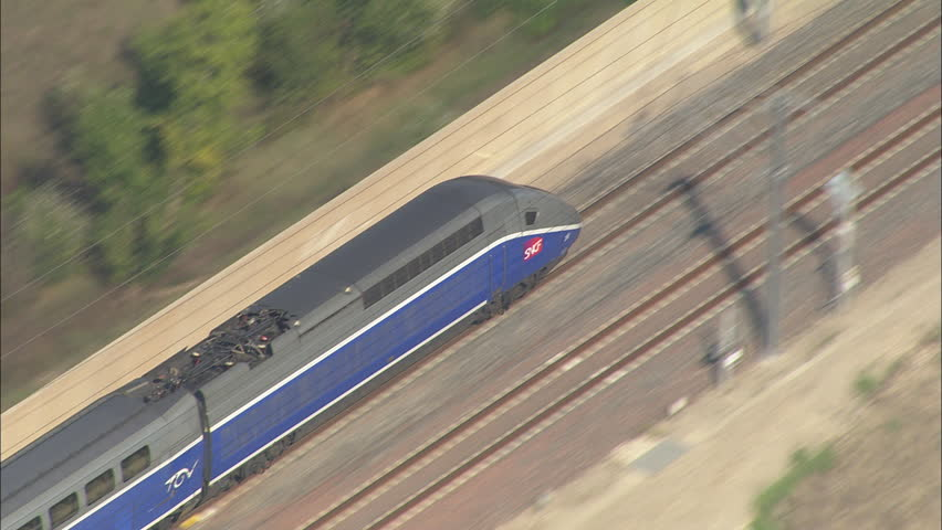 AERIAL France-Tgv At Speed 2006: Slow TGV train - gets faster