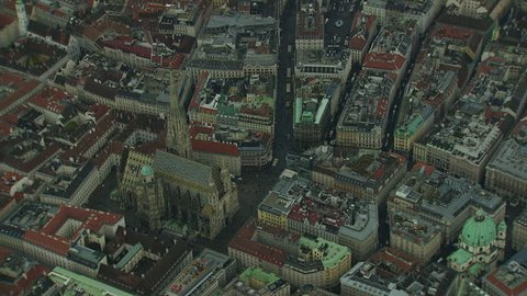 AERIAL ZO View of Vienna and Stephen's Cathedral / Vienna - 10/24/2013