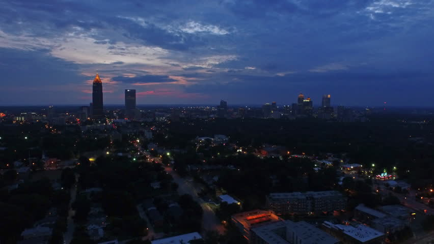 Aerial video of Atlanta Georgia at night. Sunset, thunderstorm.