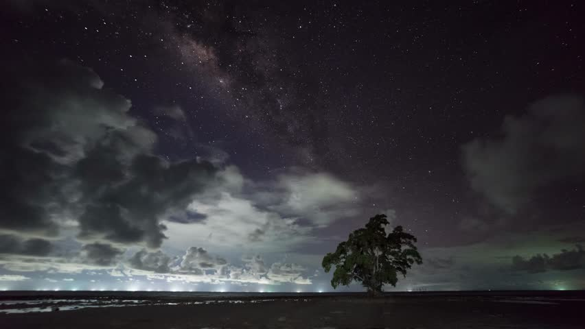 Time lapse: Starry night and milkyway view of a secluded beach at East Malaysia with a lonely tree and fast clouds. Sabah, Malaysia.