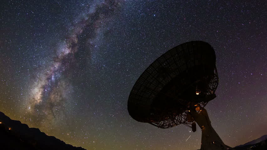 Milky Way Galaxy Night Timelapse Passes Giant Satellite Dish