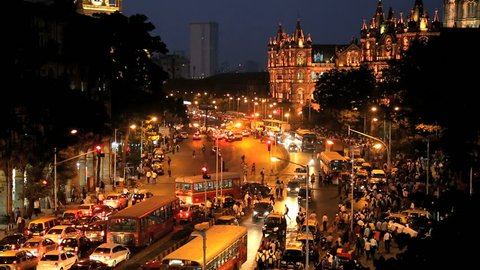 India - March 2015: Mumbai India Asia Chhatrapati Shivaji Terminus Victoria Terminus Maharashtra State CST night illuminated railway travel