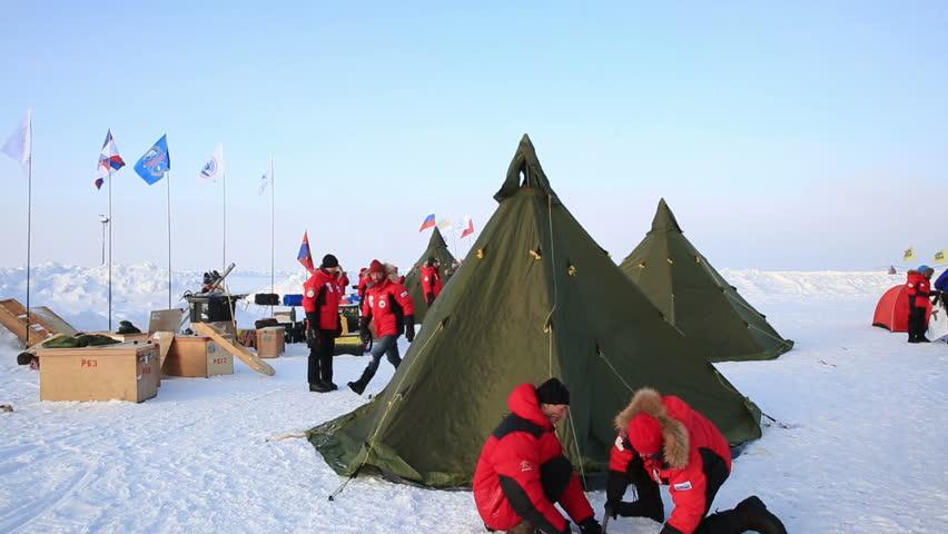 ICE CAMP  BARNEO  NORTH POLE ARCTIC - APRIL 10 2015 & ICE CAMP