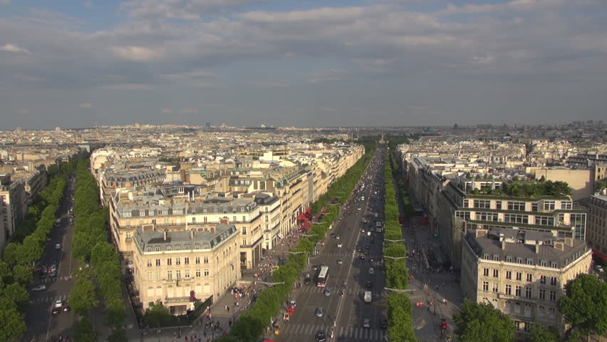 Aerial view of Paris cityscape and traffic car on large boulevard, rooftop of building and tourism attraction by day, handheld camera | Shutterstock HD Video #11947988