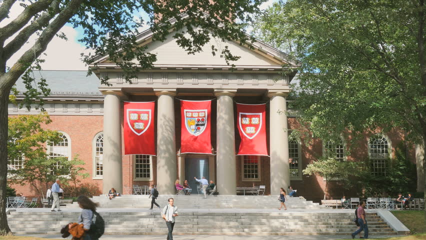 CAMBRIDGE, MA- SEPT 17, 2015: Harvard University college campus on September 17, 2015. Harvard University is a historic landmark Ivy League research university school in New England.