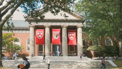 CAMBRIDGE, MA- SEPT 17, 2015: Harvard University college campus on September 17, 2015. Harvard University is a historic landmark Ivy League research university school in New England.