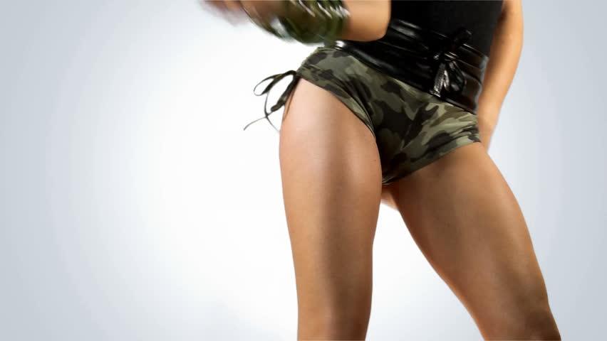 Half body shot of sexy woman buttocks.
