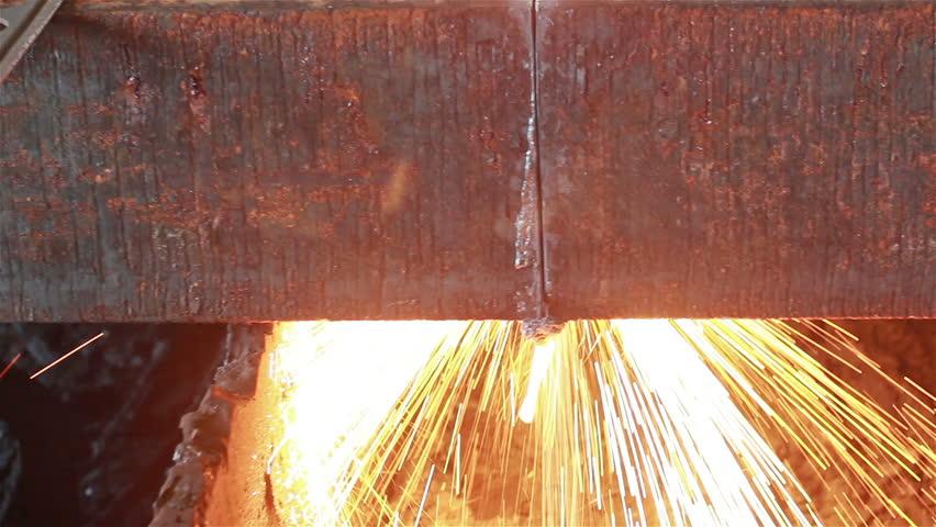 Background of industry steel, Flames wear rising, Fire gas cutting slab.  | Shutterstock HD Video #12012017