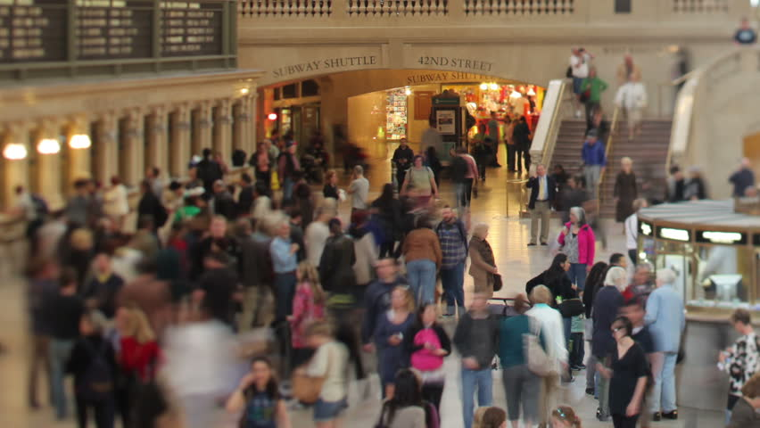 NEW YORK - MAY 12: Timelapse of crowd in Grand Central Terminal, May 12, 2011, New York, NY.  Grand Central is a terminal station at 42nd Street and Park Avenue in Midtown Manhattan. It is the largest train station in the world by number of platforms.