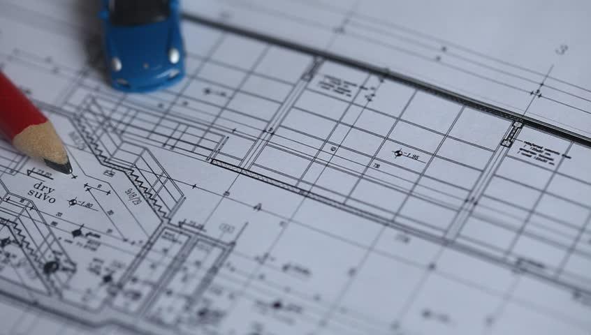 Architectural plan blueprint. Trucking camera. | Shutterstock HD Video #12067514