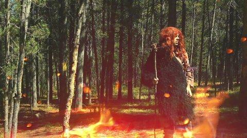 Caveman walking through a forest