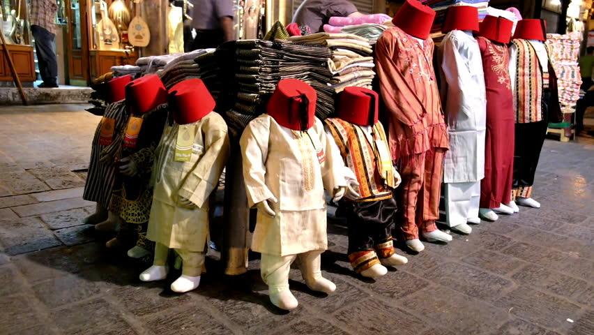 Damascus, Syria, September 2013: Countertop clothing market