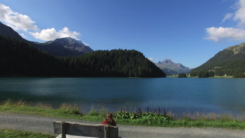Lakefront St Moritz, the lawns in front of champfr, Swiss alp, Engadin,  - 4K stock footage clip