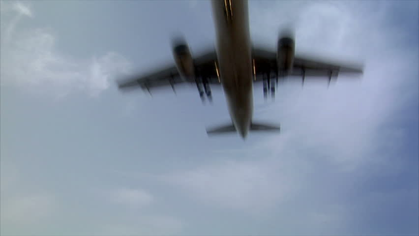 Landing airplane jet fly over real time audio | Shutterstock HD Video #1215013