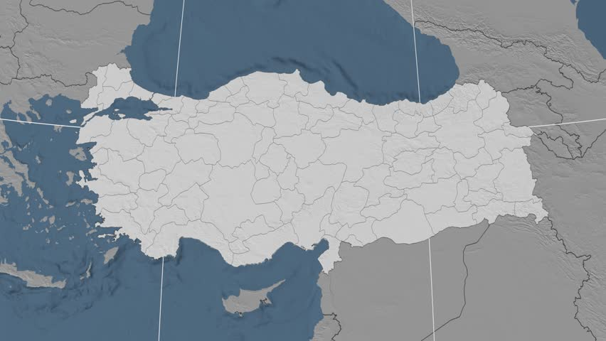 Stock video of Erzincan Region Extruded On The Elevation Map Of