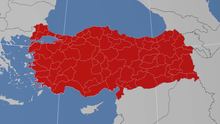 Malatya Region Extruded On The Administrative Map Of Turkey Solid