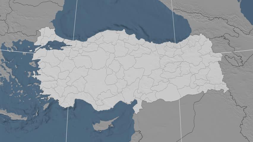Tunceli Region Extruded On The Elevation Map Of Turkey Elevation