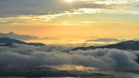 Seoraksan mountains is covered by morning fog and sunrise in Seoul Korea