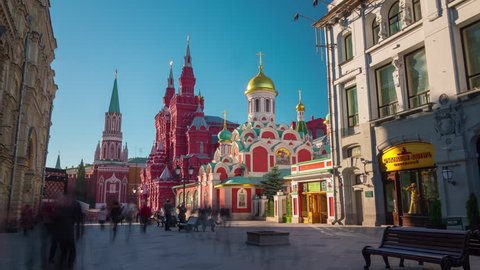 moscow famous tourist street red square summer light 4k time lapse russia