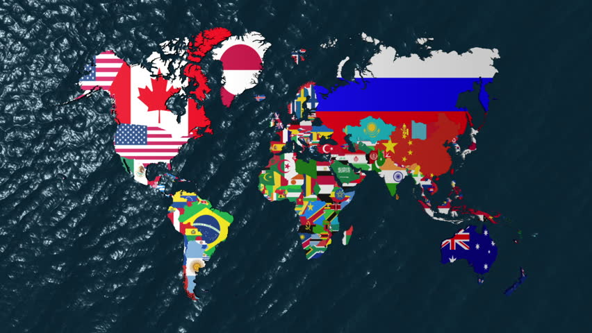 3d wide flag world map zoom to north america stock footage video 3d flag world with a slow zoom to india hd stock video clip gumiabroncs Image collections