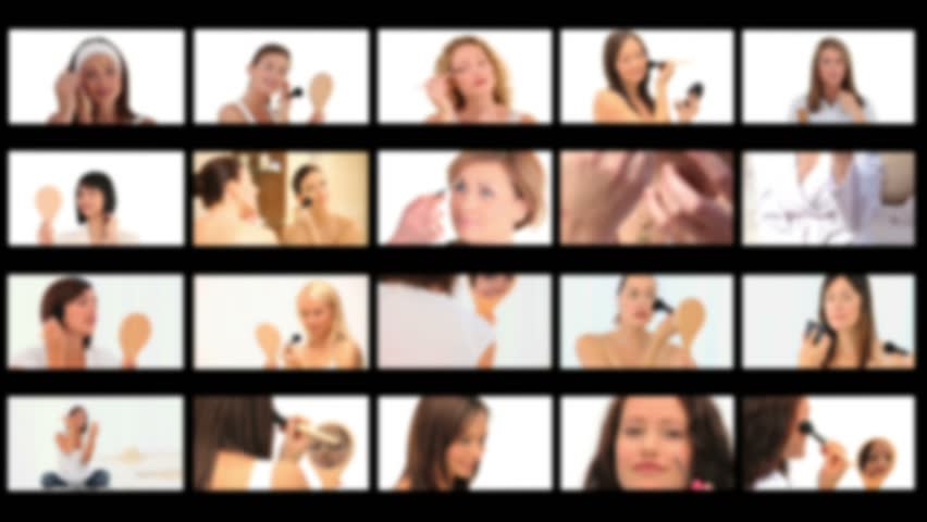 Montage of cute women with making-up | Shutterstock HD Video #1222900