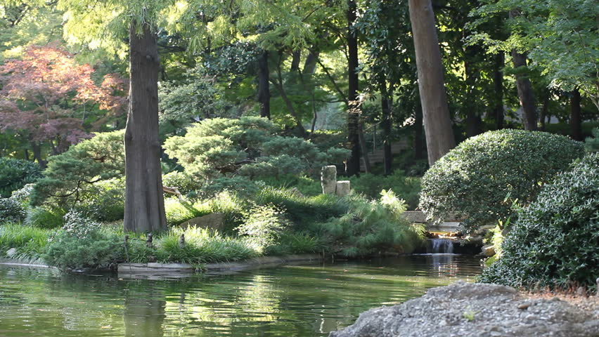 A peaceful garden scene with waterfall running by the rocks, bushes, trees and a quiet water lake pond.