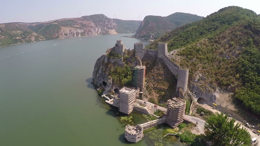 Old fortress on the beautiful Danube river.