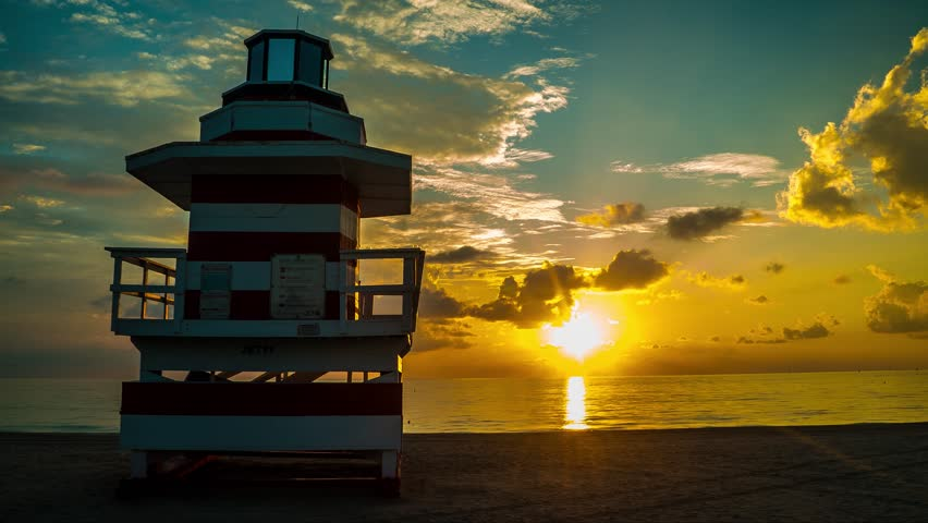 4K timelapse of sunrise Sobe South Beach lifeguard in Miami Beach, Florida