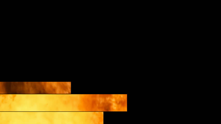 Lower thirds animation: three bands (misc flames, orange, red, yellow) appear and disappear.