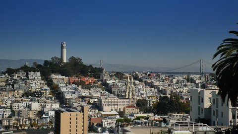 SAN FRANCISCO - Circa October, 2015 - A daytime establishing shot of Coit Tower on Telegraph Hill as seen from atop Lombard Street in San Francisco.