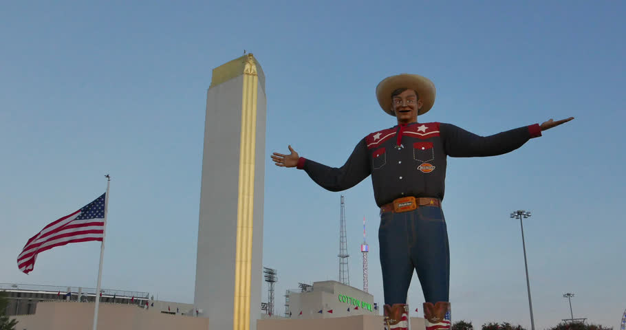 DALLAS STATE FAIR OF TEXAS, OCT 15: The new Big Tex at the State Fair of Texas speaks and waves one of his hands to great the fair visitors. Dallas, Texas, October 15, 2015
