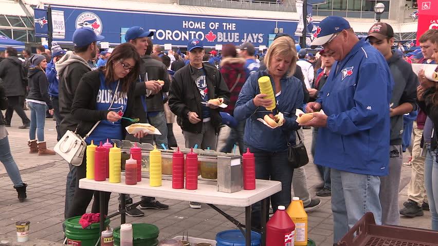Toronto, Ontario, Canada October 2015 Toronto Blue Jays major league baseball fans during the playoffs