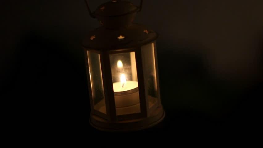 Burning Lantern in the Dark. Stock Footage Video (100% ...