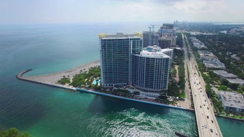 BAL HARBOUR - OCTOBER 19: Aerial video of the Ritz Carlton Bal Harbour located at 10295 Collins Ave is a luxury oceanfront resort by the Haulover inlet October 19, 2015 in Bal Harbour FL, USA
